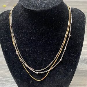 🌈 three strand gold and silver necklace